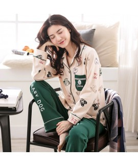Pure cotton long sleeves printed pajamas for women...