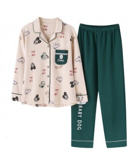Pure cotton long sleeves printed pajamas for women fahionable loose ladies' set pjs for spring