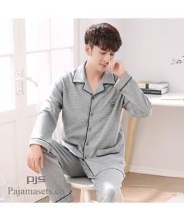 long sleeve large size mens cotton pajama set for spring loose pure cotton lounge pajamas male
