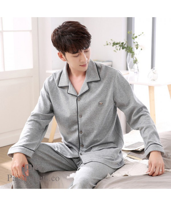 long sleeve large size mens cotton pajama set for ...