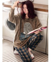 Coral velvet pyjamas Long Sleeve Plaid winter pyja...