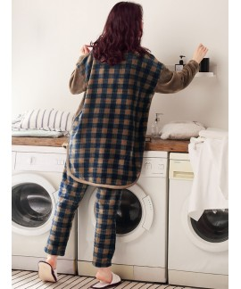 Coral velvet pyjamas Long Sleeve Plaid winter pyjamas long flannel autumn winter pyjamas suit