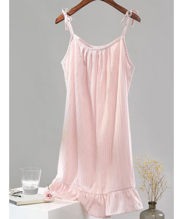 Sexy sling cotton pyjamas for girls comfy cotton nightgown female
