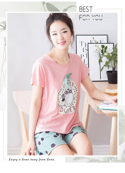 summer short sleeved casual cotton pajama sets for women T-shirt and short