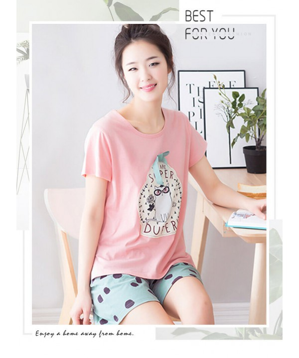 summer short sleeved casual cotton pajama sets for...