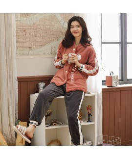 Women Lovely flannel fashion home pajama set in winter