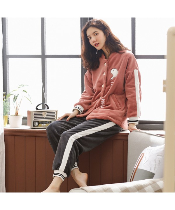 Women Lovely flannel fashion home pajama set in wi...