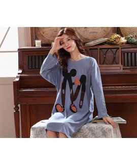 Autumn Plus Size Long Cotton Ladies Night gown Hom...