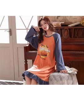 Autumn Plus Size Long Cotton Ladies Night gown Home Cartoon Loose Women Cute Nightdress