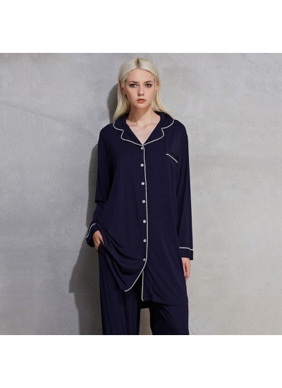 large size long sleeve women pajamas for spring pure color comfy ladies' sleepwear