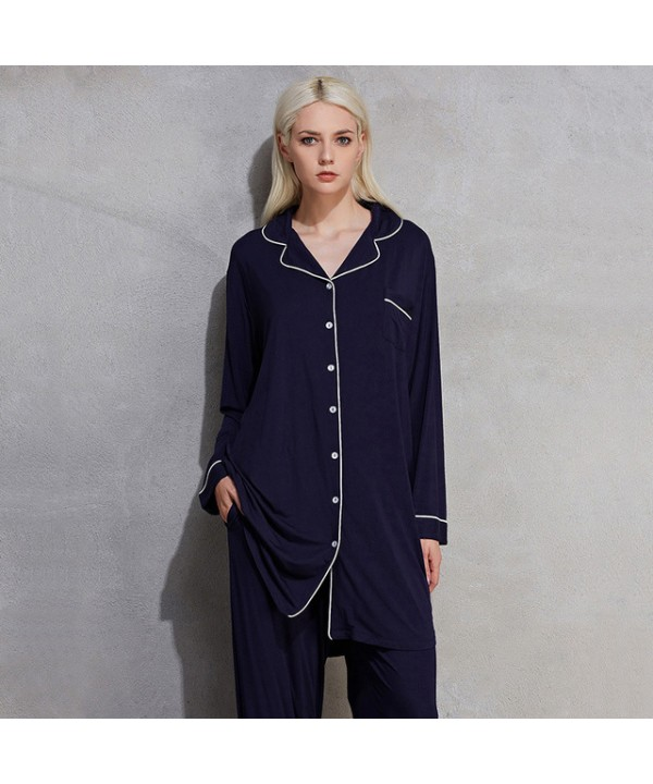 large size long sleeve women pajamas for spring pu...