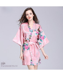 Plus Size Simulated Silky women Sleepwear Lady Pea...