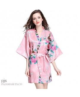 Plus Size Simulated Silky women Sleepwear Lady Peacock Bathrobe and pajama for spring
