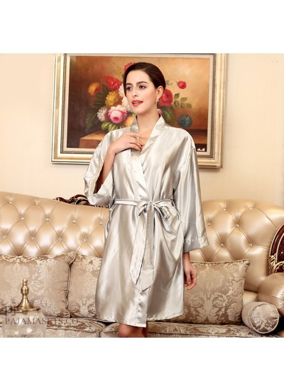 Plus size simulated silky nightwear sets in summer ladies silk morning gown for women