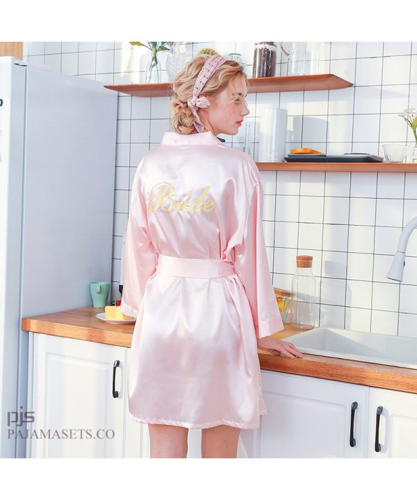 Embroidered Simulated silk bride's nightgown for wedding Bridemaid's cardigan morning gown female