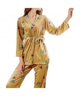 Winter pyjamas three-piece printed gold velvet household pajama sets