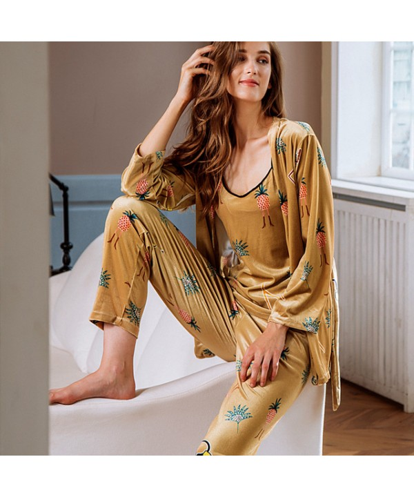 Winter pyjamas three-piece printed gold velvet hou...