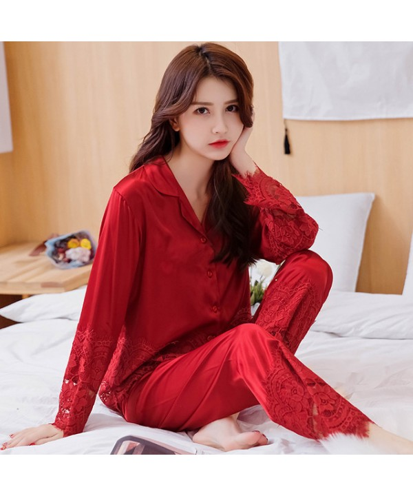 New silk like two sets pjs for spring comfy red wo...