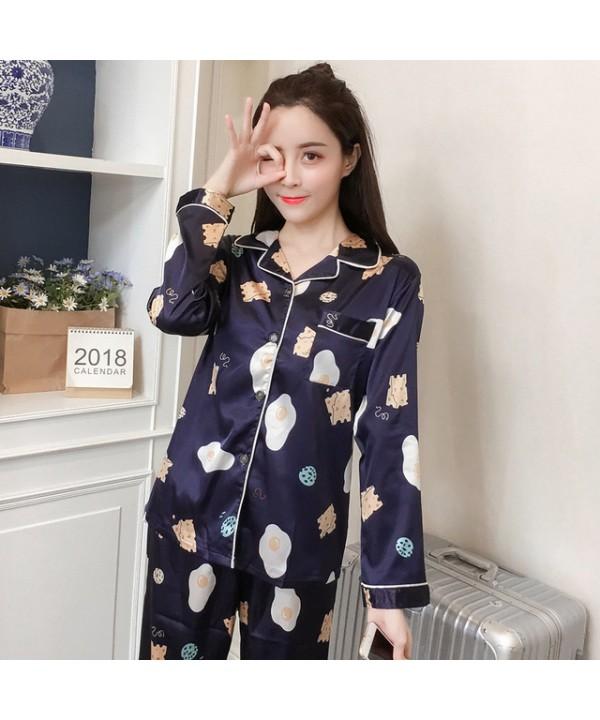 New Ice Silk Leisure pajamas Female for Spring Lon...