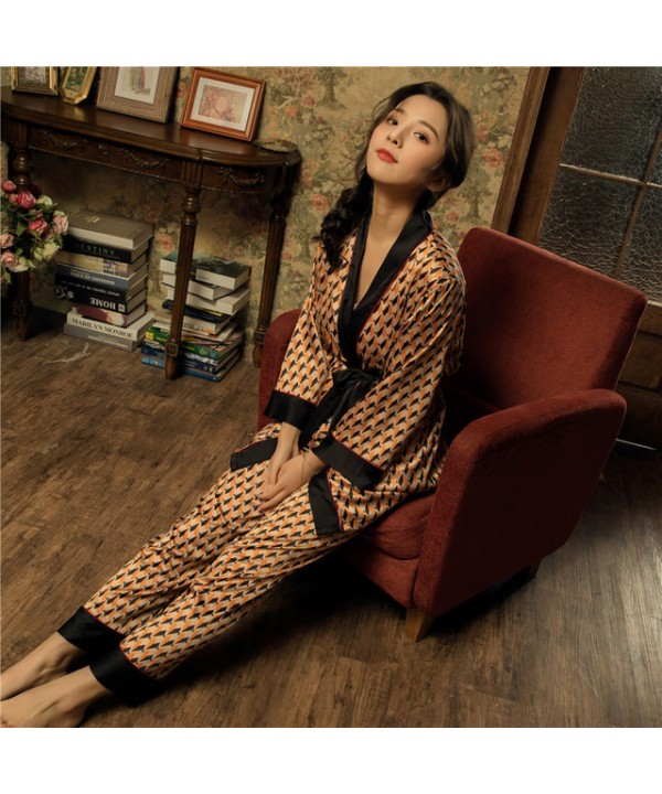 New loose-sleeved ice silk pajamas for spring thre...