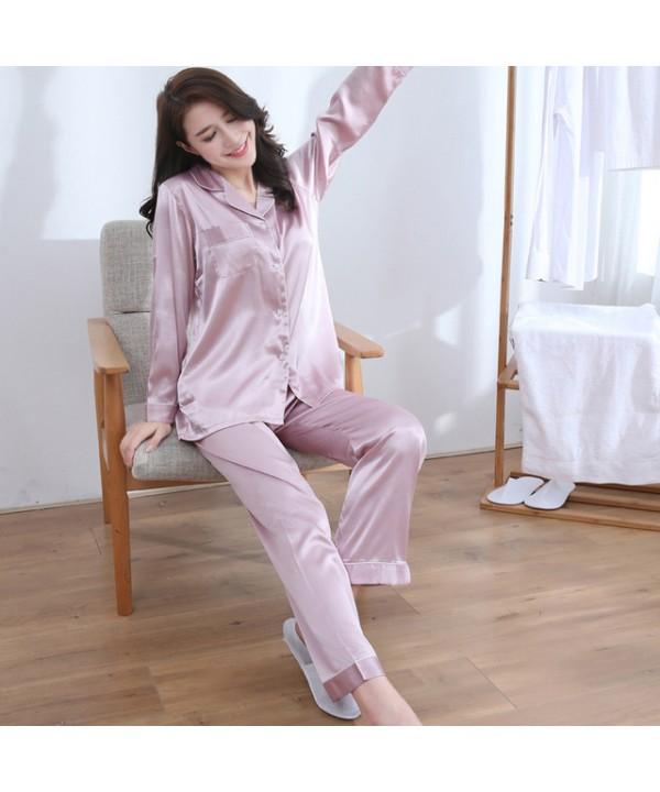 long sleeve women satin silk pajama set silky pjs ...