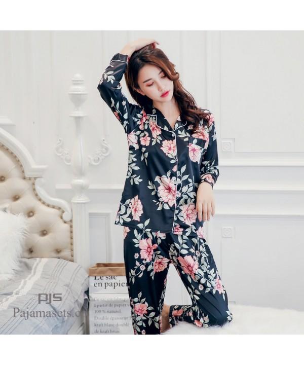New Satin silk ladies' pajamas cute printed set pj...