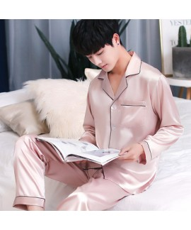 Long sleeved mens ice silk pyjamas for spring Comfortable silky nightwear male
