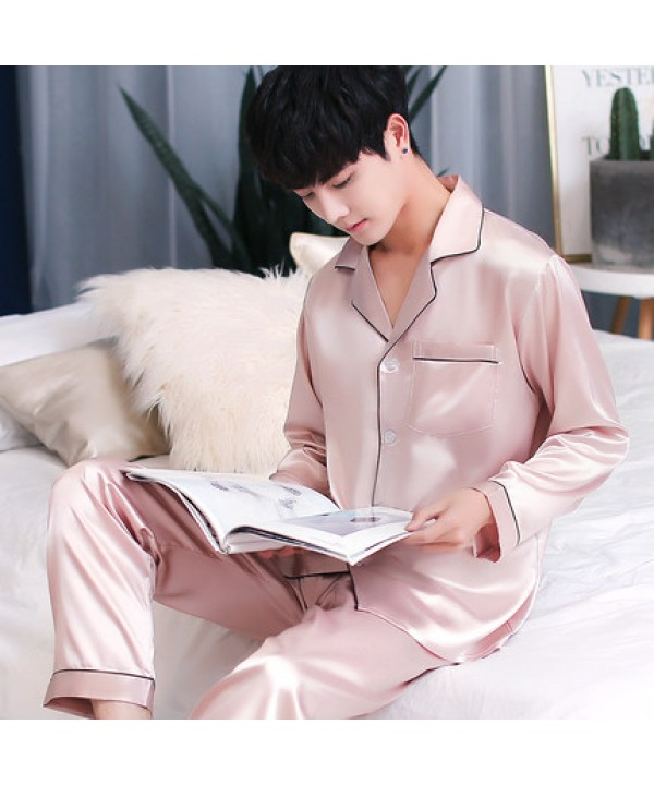 Long sleeved mens ice silk pyjamas for spring Comfortable silky nightwear male