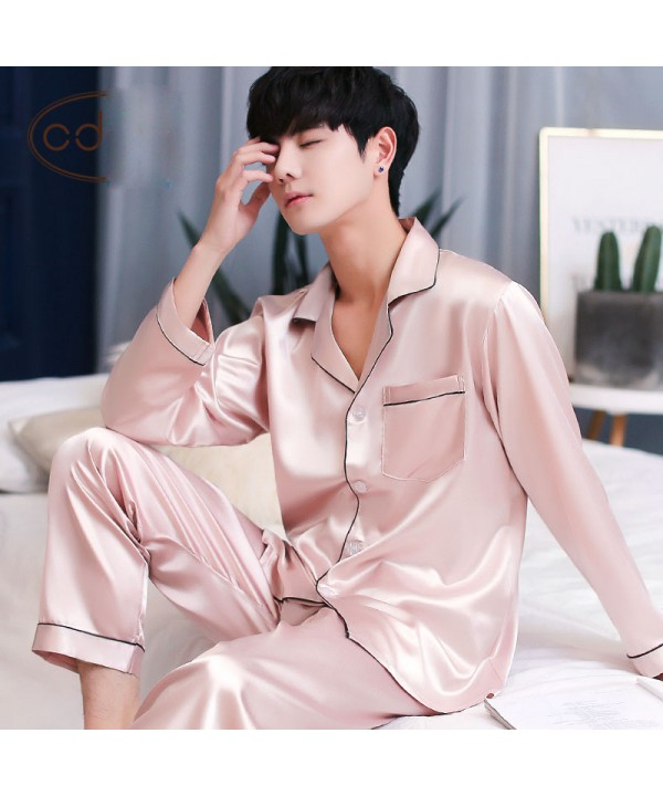 Long sleeved mens ice silk pyjamas for spring Comf...