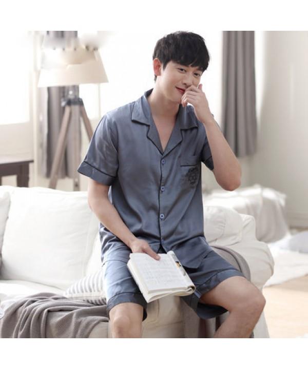 Mens luxury ice silk set of pajamas for spring buy silky nightwear male