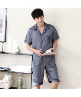 Mens luxury ice silk set of pajamas for spring buy silky nightwear male
