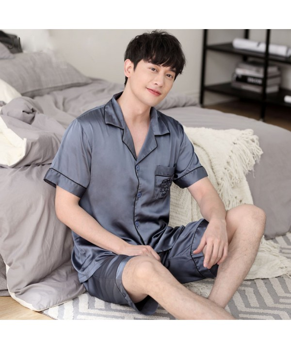 Mens luxury ice silk set of pajamas for spring buy...