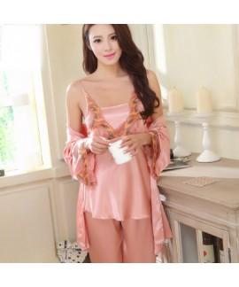 New lady emulation Three Piece pyjamas sexy long sleeve pajama sets female