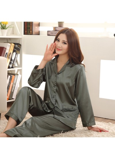 Long sleeved ice silk pajamas for ladies luxury silky nightwear female
