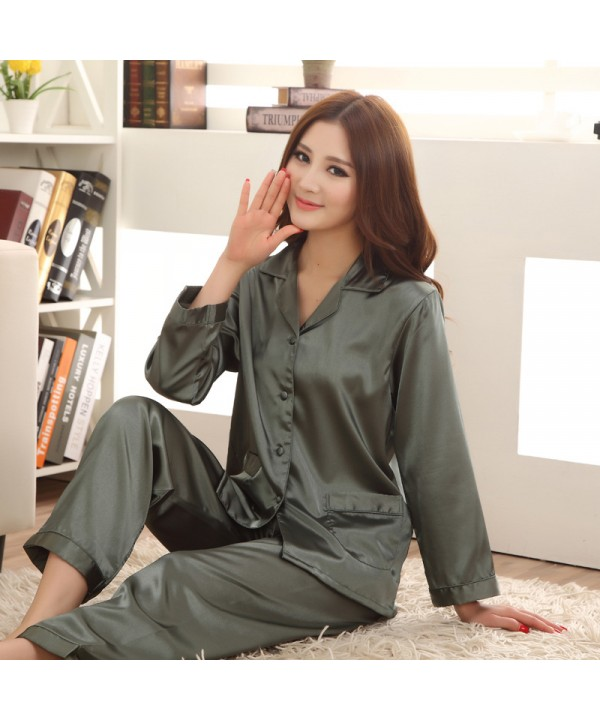 Long sleeved ice silk pajamas for ladies luxury si...