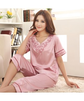 Luxury silk pajamas short sets for women comfy emb...