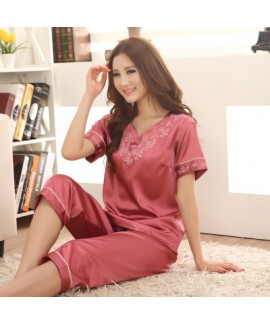 Luxury silk pajamas short sets for women comfy embroidered ladies silky nightwear