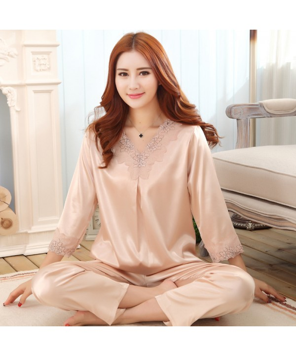 Large size ladies simulation silk pyjamas for spri...