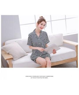Cute stripes women Satin pajamas short sets for sp...
