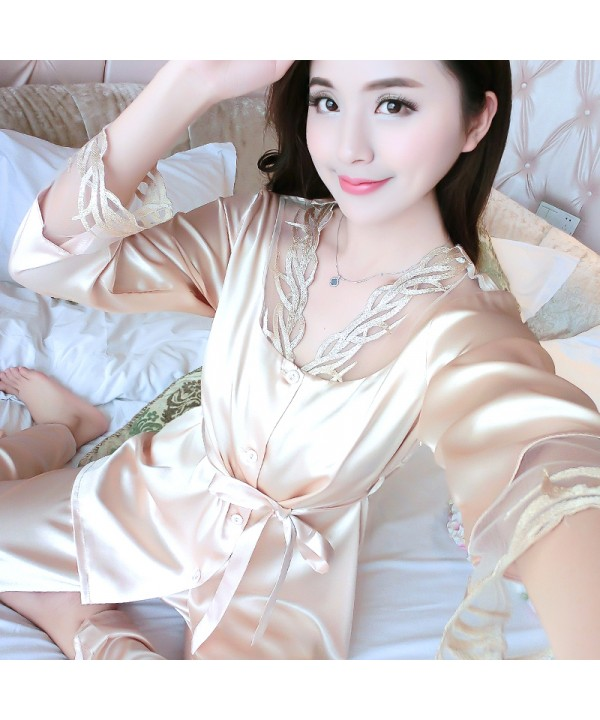 plus size long sleeves Satin Pajama sets for women...