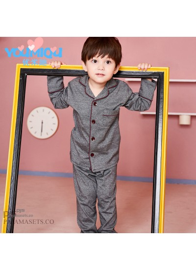 Long sleeve children's pure cotton pajama sets for spring 100 cotton pajamas for boys