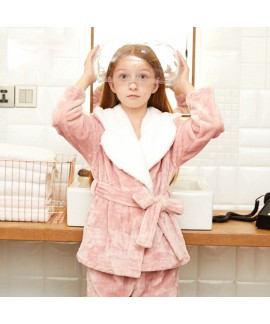 large Winter flannel warm velvet pajama set for gi...