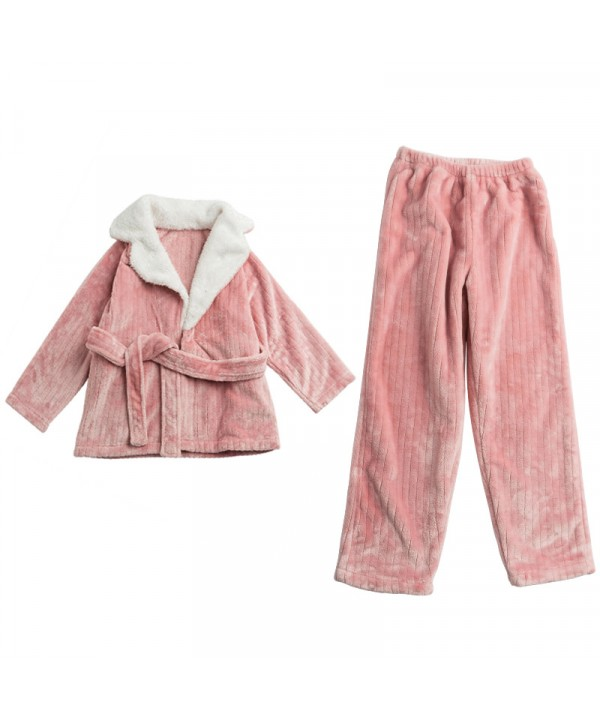 large Winter flannel warm velvet pajama set for girls