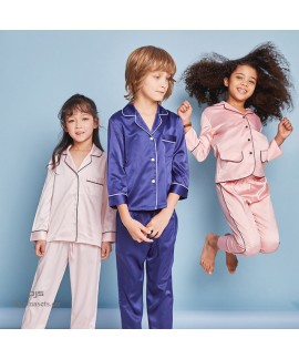 Children's Ice Silk sleepwear sets for spring luxury Silk Simulated pj Set for Girls and Boys