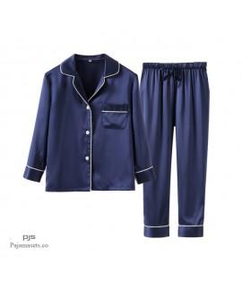 Children's Ice Silk sleepwear sets for spring luxu...