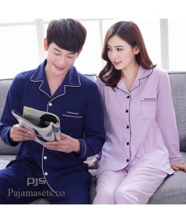 long-sleeved couple pure cotton pajamas for spring...