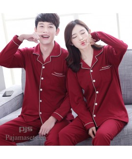long-sleeved couple pure cotton pajamas for spring wine-red comfy lounge pajamas sets