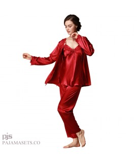 Large size Women three-piece silk pajama set long sleeved silky nightwear sets