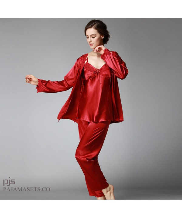 Large size Women three-piece silk pajama set long ...