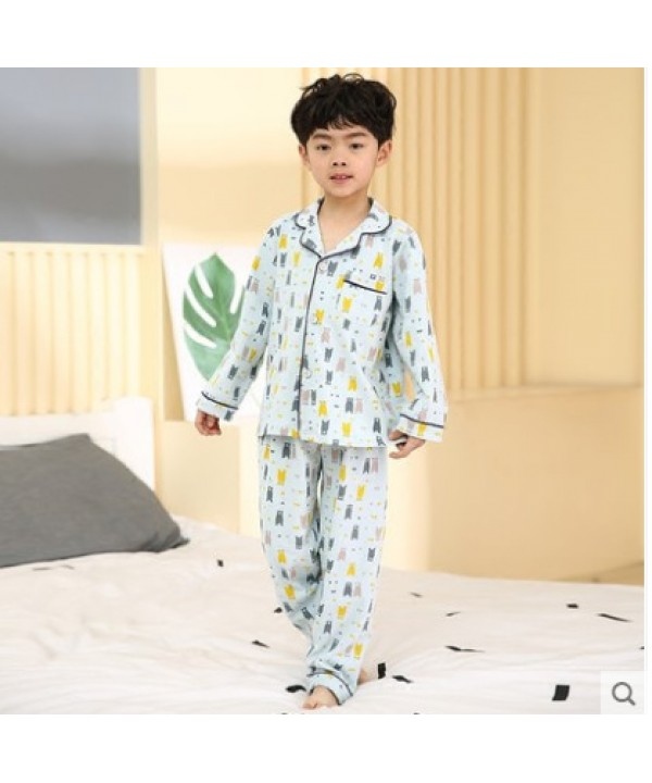 Comfy Boys long sleeved cotton pajama sets for chi...